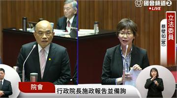 快新聞/蔡壁如首次站上質詢台  被蘇貞昌洗臉「預算上主計長比妳專業」