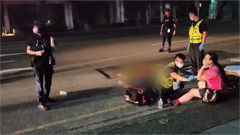 翁過深夜過馬路被慘遭撞飛 騎士「太暗沒注意」