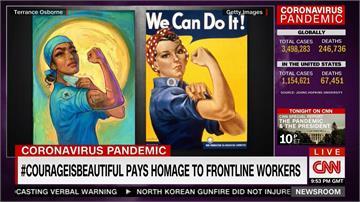 感謝防疫英雄!美國藝術家畫作以二戰海報為靈感 向醫護致敬
