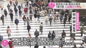 日本擴大緊急狀態首個週末 各地人潮仍洶湧