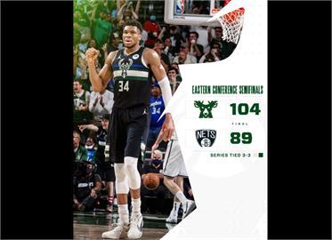 NBA/字母哥30分17板轟破籃網 公鹿逼出系列賽第7戰