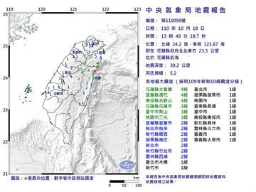 快新聞/雙北也有感!花蓮13:49發生規模5.2地震 最大震度宜蘭、花蓮4級