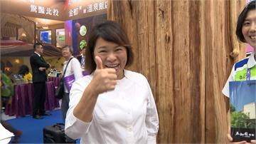 與民眾大玩有獎徵答!嘉義市長黃敏惠旅展當代言人