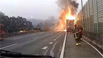 國1三義段聯結車疑爆胎起火「火輪胎」噴飛對向車道幸無人車遭波及
