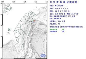 快新聞/地牛翻身!14:01宜蘭近海規模4.0地震 最大震度宜蘭縣3級