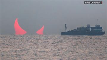 「血色惡魔角」海中升起...波斯灣出現罕見日食奇景