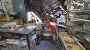 嘉義市東市場頂樓磚牆崩塌! 老闆頭破血流、老闆娘肩膀受傷