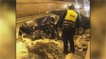 大清水隧道車禍車撞爛 蘇花公路雙向嚴重回堵