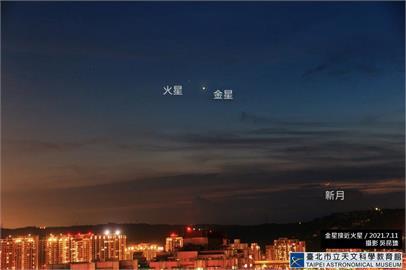 快新聞/「火星合金星」明15:00登場! 一紅一白超吸睛美景黃昏現身