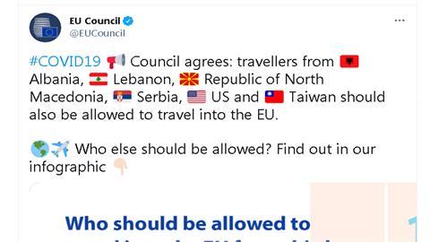 歐盟推特首秀台灣國旗!將台納入安全旅遊名單