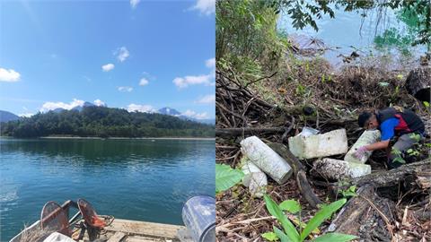 日月潭水位上升已「撈出16噸垃圾」!風管處:還要清2週才能恢復美景