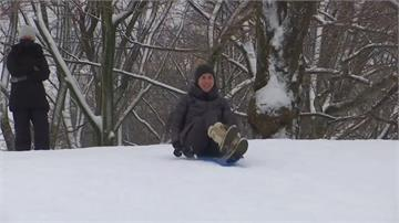 美國紐約積雪60公分 中央公園變身滑雪場
