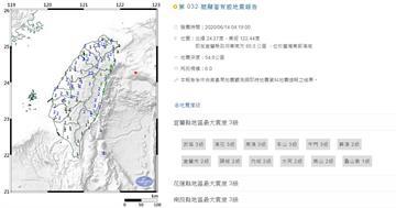 全台震醒!東部外海4:19規模6地震 宜蘭最大震度3級