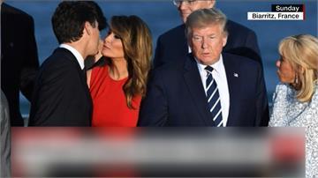 G7閉幕大合照 川普妻和帥哥總理貼面禮「像接吻」