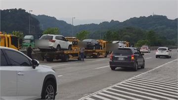碰!國3尖峰時刻5車連撞 回堵2公里連兩撞 相隔不到1公里處再發生追撞