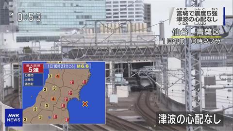 日本宮城6.8強震 最大震度5強 搖晃長達30秒