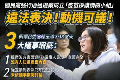 快新聞/藍委堅持成立「疫苗調閱小組」 民進黨批動機可議:逼政府違反國際慣例