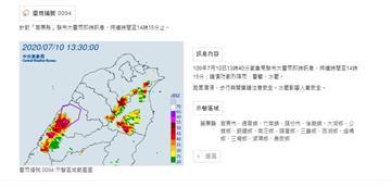 快訊/氣象局針對苗栗縣發布大雷雨特報 持續時間至14點15分