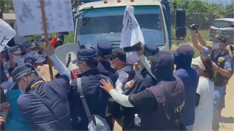 台南北門反太陽光電廠抗爭 數波警民衝突、推擠 5人遭送辦