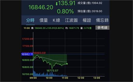 台股電子領跌 一度重挫208點摜破16800關卡