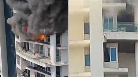 驚悚畫面曝!印度孟買61層大樓竄火舌 男爬牆失足墜19層樓身亡