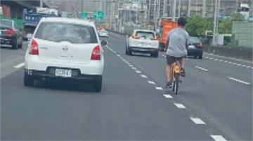 Ubike騎上國道 邊騎邊聽音樂 網友諷「移動式神主牌」