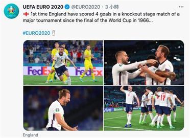 英格蘭4比0痛宰烏克蘭 順利挺進歐國盃4強