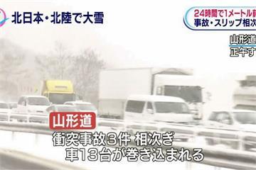 北海道大雪冰封釀連環撞 百輛車卡國道