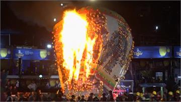 緬甸熱氣球起火 民眾驚聲尖叫竄逃