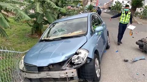 汽機車巷口相撞 百公斤騎士被撞飛摔香蕉園