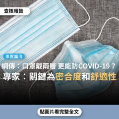 【事實釐清】網傳「口罩不只要戴一個,要戴兩個,根據CDC的研究,是能更顯著預防COVID-19」?
