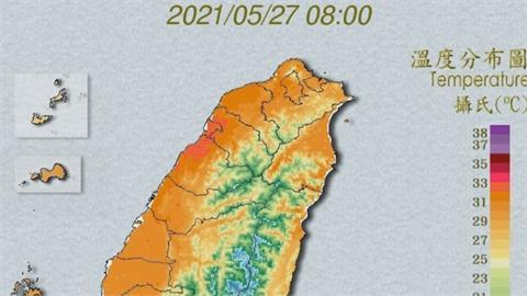 全台成「烤番薯」 中南部可能出現38度高溫! 週六滯留鋒面影響 雨連下五天盼解渴