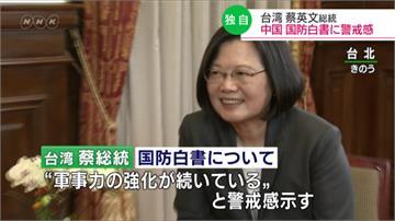 接受NHK專訪 蔡總統盼區域國家共同面對中國軍事威脅