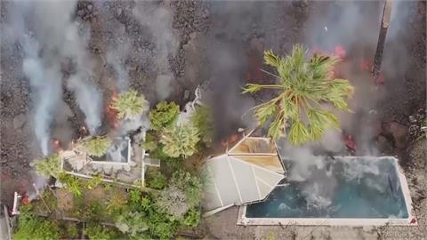 震撼畫面曝!西班牙火山爆發50年來首見 滾燙熔岩狂洩「吞噬民宅泳池」