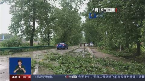 強對流南下江南、華南 湖北暴雨沖毀橋梁