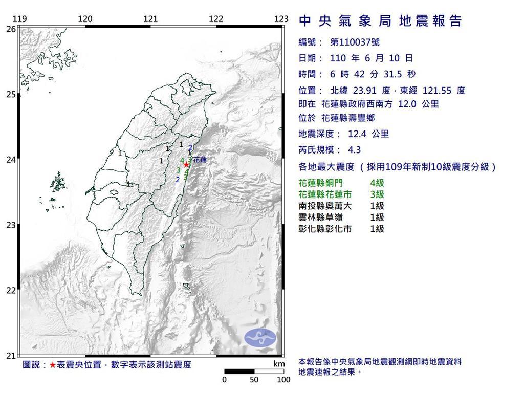 快新聞/地牛翻身!花蓮06:42「規模4.3地震」 最大震度花蓮縣4級