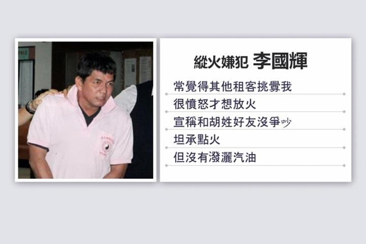 快新聞/中和公寓縱火報復室友慘害9命 華僑李國輝更二審仍判死刑