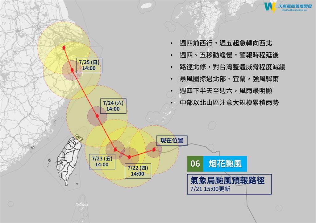 中颱烟花「颱風眼清晰」路徑再北修!氣象局:越晚風雨越明顯