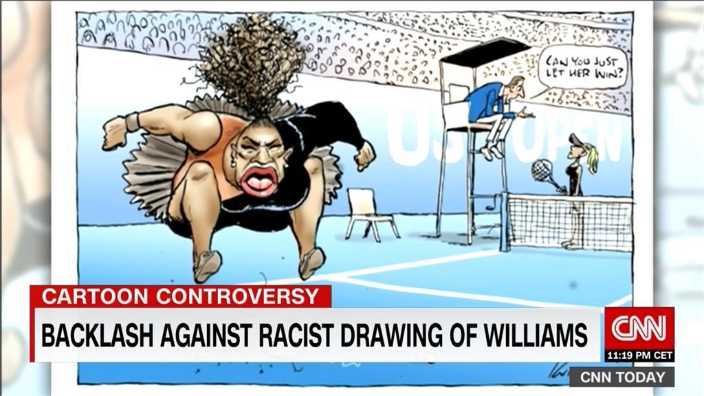 小威廉斯賽中發飆 澳洲插畫家醜化惹批評