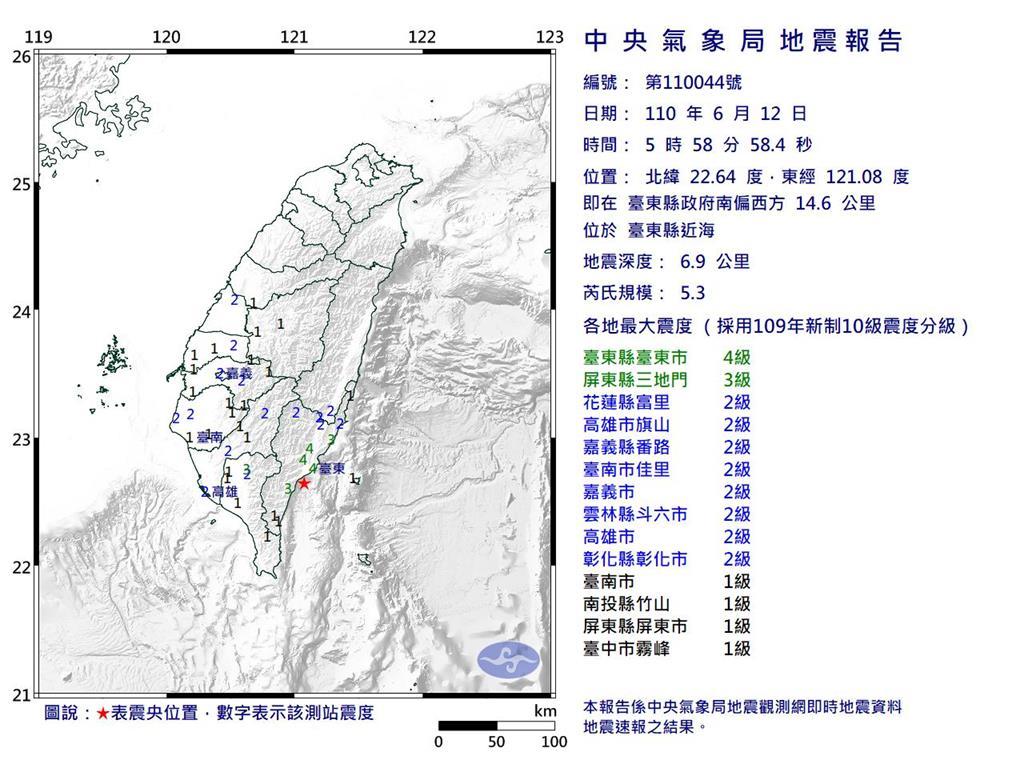 快新聞/地牛翻身!台東05:58規模5.3地震 最大震度4級