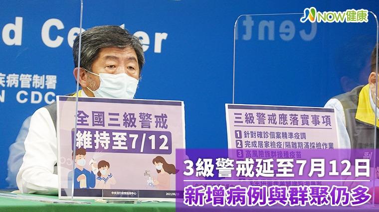 3級警戒延至7月12日 疫情改善但新增病例與群聚仍多