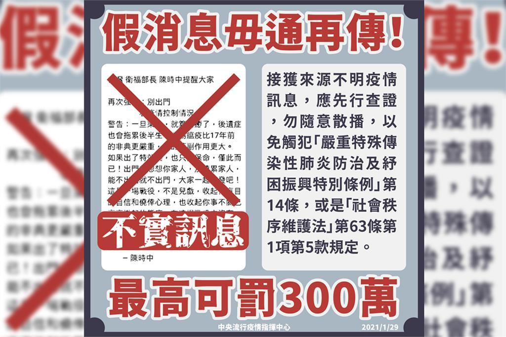 快新聞/網傳「陳時中提醒大家別出門」 指揮中心駁斥假訊息:最高罰300萬元