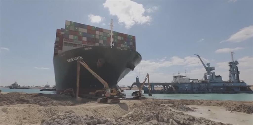 快新聞/長賜輪浮上水面! 埃及總統港口顧問:蘇伊士運河最快今天恢復通行