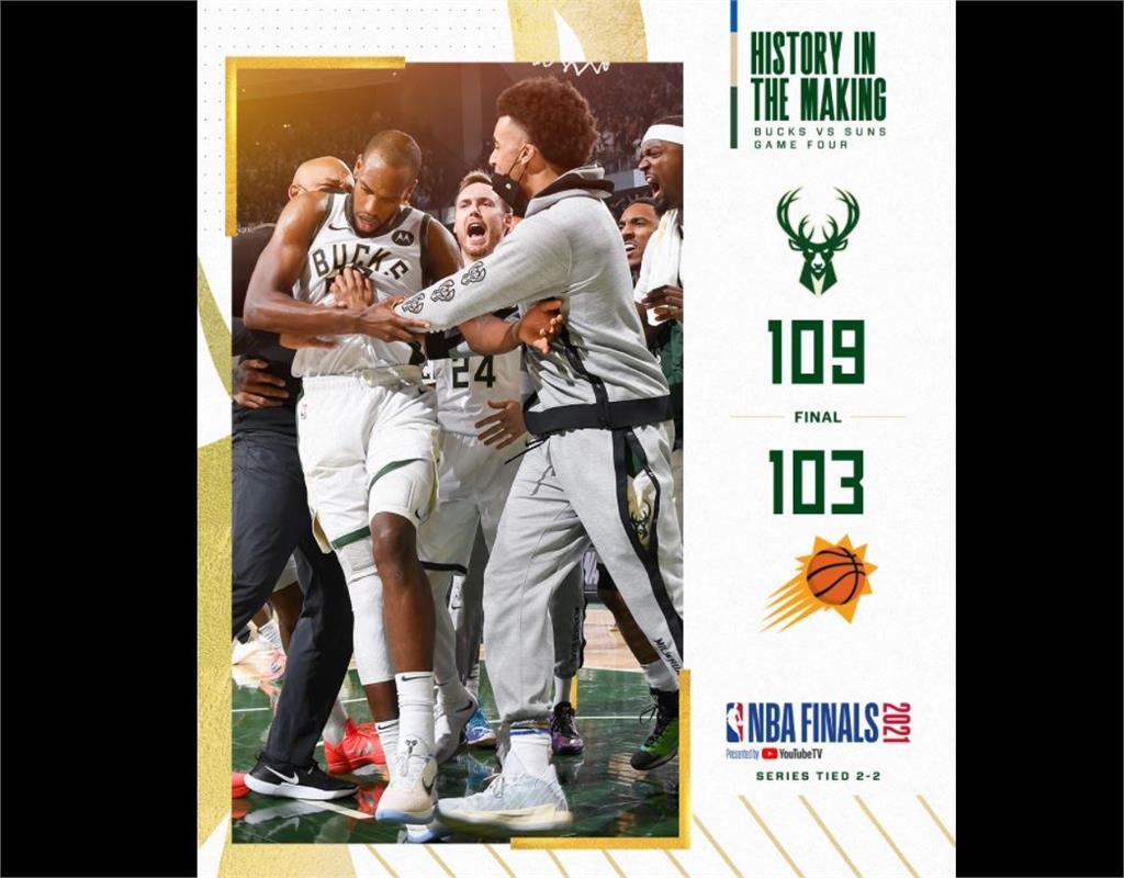 NBA/總冠軍賽太陽失誤連連 公鹿扳平戰局
