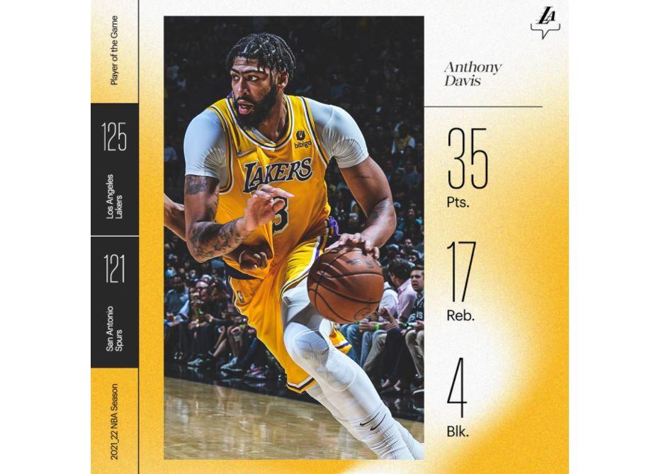 NBA/詹姆斯缺陣 湖人雙星合拿68分延長賽擊敗馬刺