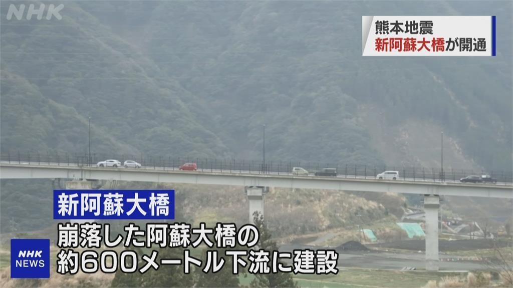 規模7.3強震後重建 熊本縣阿蘇大橋宣告通車