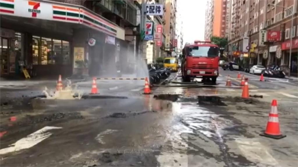 蘆竹中山路挖斷瓦斯管線 瓦斯狂洩急封鎖