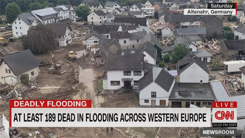 西歐洪災死亡攀升至189人 德總梅克爾:加快對抗氣候變遷