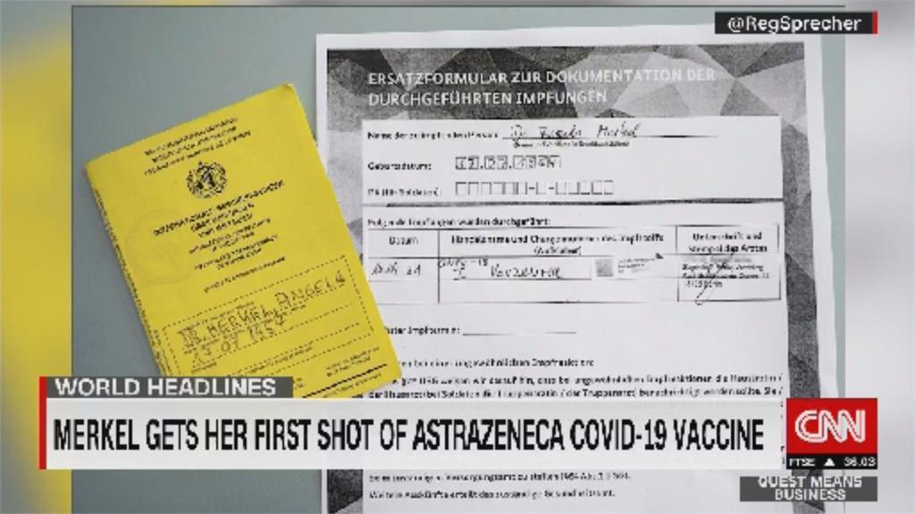以行動力挺 德國總理梅克爾接種AZ疫苗