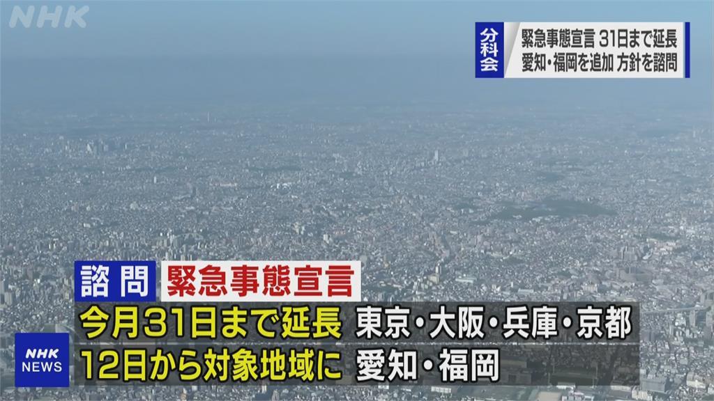 東京等地緊急事態延至5/31 再納入愛知與福岡